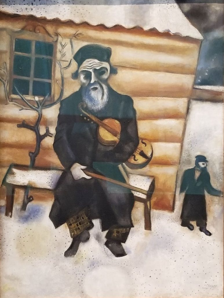 Marc Chagall Violinist on a Bench  Article on visiting the LACMA and the Ridley Tree Art Museums.